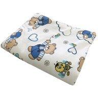 Deseda - Lenjerie 3 piese din finet flannel pat 120x60 cm  Ursi cu albine albastru