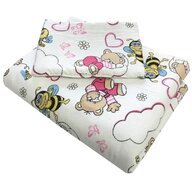 Deseda - Lenjerie 3 piese din finet flannel pat 120x60 cm  Ursi cu albine roz