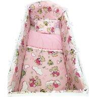 Deseda - Lenjerie de pat bebelusi 120x60 cm 6 piese cu aparatori laterale pufoase si volanase  Ursi cu albine pe roz