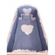 Deseda - Lenjerie de pat bebelusi cu aparatori laterale  Te iubesc puisor 120x60 cm albastru cu alb