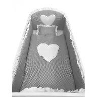 Deseda - Lenjerie de pat bebelusi cu aparatori laterale  Te iubesc puisor 140x70 cm gri cu alb