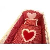 Deseda - Lenjerie de pat bebelusi cu aparatori laterale  Te iubesc puisor 140x70 cm rosu cu alb