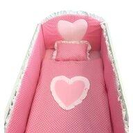 Deseda - Lenjerie de pat bebelusi cu aparatori laterale  Te iubesc puisor 140x70 cm roz cu alb