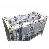 Deseda - Lenjerie de pat bebelusi cu aparatori laterale pufoase si buzunar  Bufnite albastre