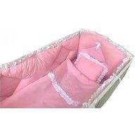 Deseda - Lenjerie de pat brodata  pt bebelusi  cu aparatori laterale roz - 120*60 cm