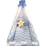 Deseda - Lenjerie de patut bebelusi 9 piese pat 120x60 cm cu baldachin si aparatori Maxi  Steluta Noapte buna Albastru