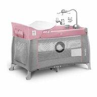 Lionelo - Patut pliant Thomi, 120 x 60 cm, nivel intermediar, carusel, masuta de infasat, Pink Baby