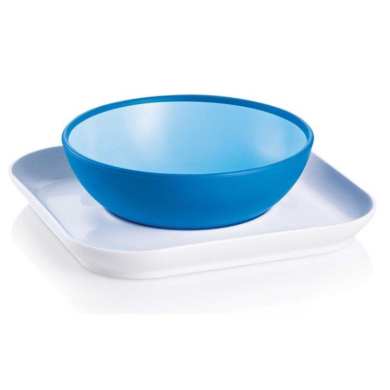 MAM Castron si farfurie albastru din categoria Canute boluri si tacamuri de la MAM