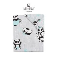 MimiNu - Cearceaf cu elastic, 120X60 cm, Panda happy day Mint