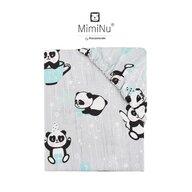 MimiNu - Cearceaf cu elastic, 140X70 cm, Panda happy day Mint