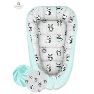 MimiNu - Cosulet bebelus pentru dormit, Baby Cocoon 90x50 cm, Panda Happy Day/Mint