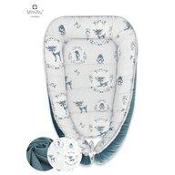 MimiNu - Cosulet bebelus pentru dormit, Baby Cocoon 90x50 cm, Velvet Deer Dark Mint
