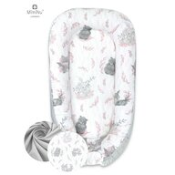 MimiNu - Cosulet bebelus pentru dormit, Baby Nest 105x66 cm, Lulu Rose/Grey