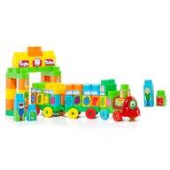 Molto - Set de constructie Tren Cu 70 de cuburi, Cu litere si numere