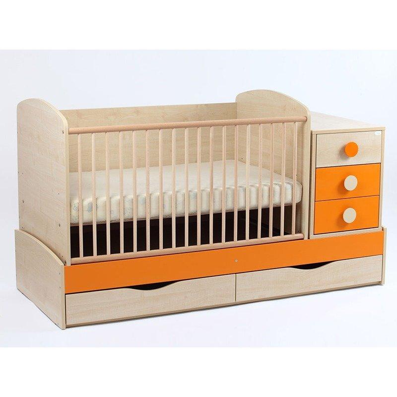 MyKids Patut Transformabil MYKIDS Silence Natur Orange Cu Leg 4058 din categoria Patuturi din lemn de la MyKids