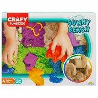 CRAFY - Nisip kinetic La plaja  Cu tavita, 1000 gr, Cu sabloane Fun Sand