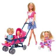 Simba - Papusa Steffi Love Baby World Cu accesorii, 29 cm, In bluza cu buline, Cu 2 copii, Cu 1 bebelus