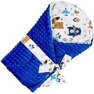 Infantilo - Paturica de infasat Ursuleti Multifunctionala Minky din Bumbac, 75x75 cm, Albastru