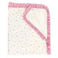 Deseda - Paturica dubla cu volanase Stelute roz pe alb