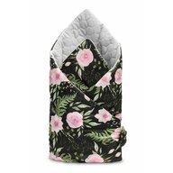 Sensillo - Paturica nou-nascut  Velvet Wrap Flori Negre 75x75 cm