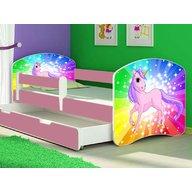 MyKids - Patut tineret Rainbow Unicorn cu sertar si saltea 160x80