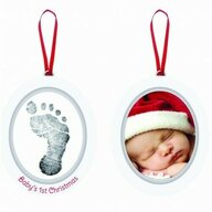 Pearhead - Rama foto Baby's First Christmas Rama ovala, Cu amprenta din cerneala