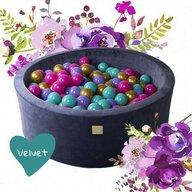 MeowBaby® - Piscina Flower Cu cu 250 de bile 7 cm Uscata, 90x30 cm, Turcoaz/Violet