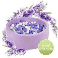 MeowBaby® - Piscina Catifea Cu cu 250 de bile 7 cm Uscata, 90x30 cm, Alb/Violet