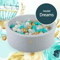 MeowBaby® - Piscina Dreams Cu cu 250 de bile 7 cm, Transparent Uscata, 90x30 cm, Alb/Turcoaz