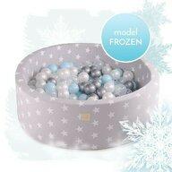 MeowBaby® - Piscina cu bile Uscata Transparent, 250 bile de 7 cm Disney Frozen, 90x30 cm, Albastru/Gri