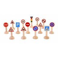 Plan Toys - Set cu semne rutiere de jucarie