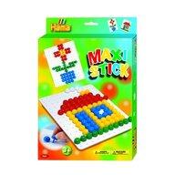 Hama - Set creativ Patrat In cutie de cadou, Cu planseta, Cu 140 tepuse ciuperci Maxi Stick