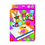 Hama - Set creativ Patrat Iepurasul In cutie de cadou, Cu planseta, Cu 140 tepuse ciuperci Maxi Stick
