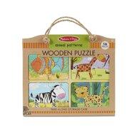 Melissa & Doug - Puzzle din lemn Animalele Puzzle Copii, pcs  16