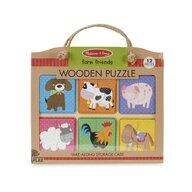 Melissa & Doug - Puzzle din lemn Prieteni de la Ferma Puzzle Copii, pcs  12
