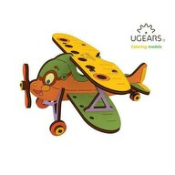 Ugears - Puzzle 3D Biplan, din lemn, +5 ani, uGears