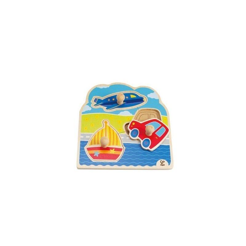 Puzzle cu buton – Mijloace de transport HAPE din categoria Puzzle copii de la Hape