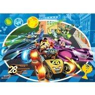 Lisciani - Puzzle personaje Mickey in cursa Cu desen de colorat Puzzle Copii, piese 24