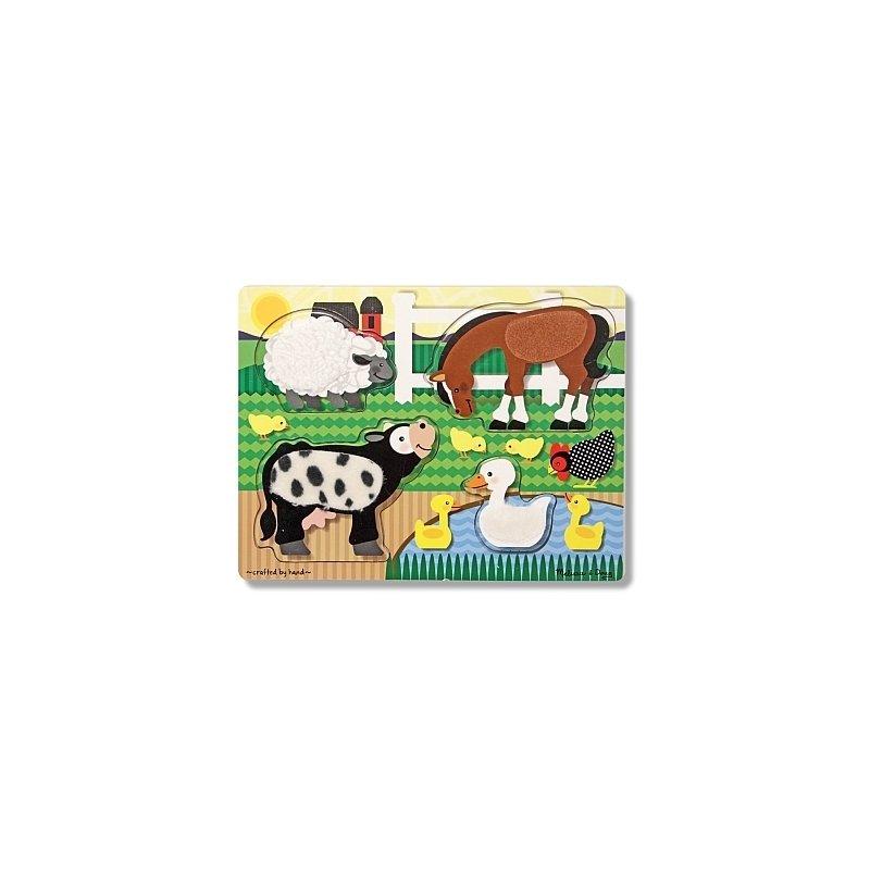 Puzzle de lemn Atinge si descopera Animale de la ferma Melissa and Doug din categoria Puzzle copii de la Melissa & Doug