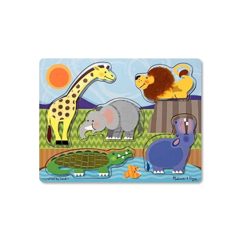 Puzzle de lemn Atinge si descopera Animale Zoo Melissa and Doug din categoria Puzzle copii de la Melissa & Doug