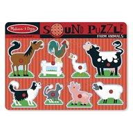 Melissa & Doug - Puzzle de lemn cu sunete Animale de la Ferma Melissa and Doug