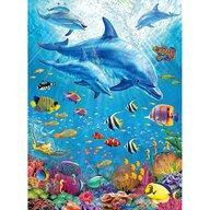 Ravensburger - Puzzle animale Delfini si pesti Puzzle Copii, piese 100