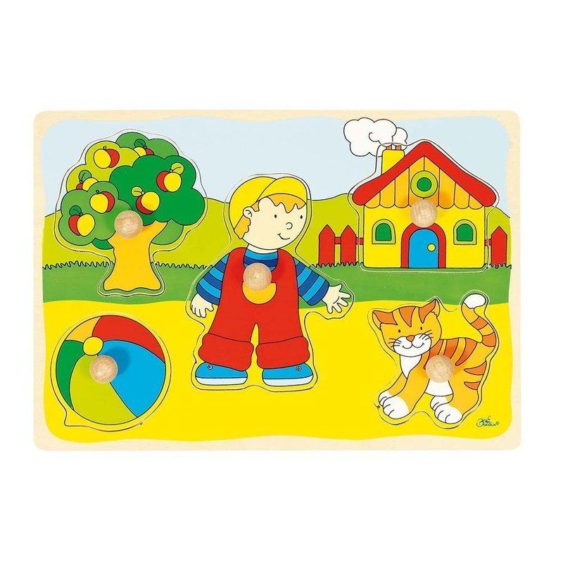 Goki Puzzle din lemn Baietel si Pisicuta din categoria Puzzle copii de la Goki