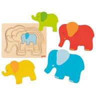 Goki - Puzzle din lemn Elefanti Incastru Puzzle Copii, piese5