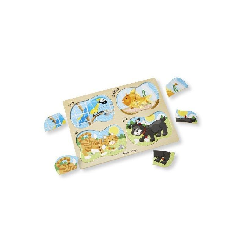 Puzzle lemn 4 in 1 Animale de companie din categoria Puzzle copii de la Melissa & Doug