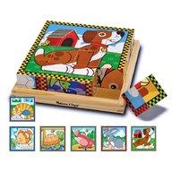 Melissa & Doug - Puzzle lemn din cuburi Animalele de casa Melissa and Doug