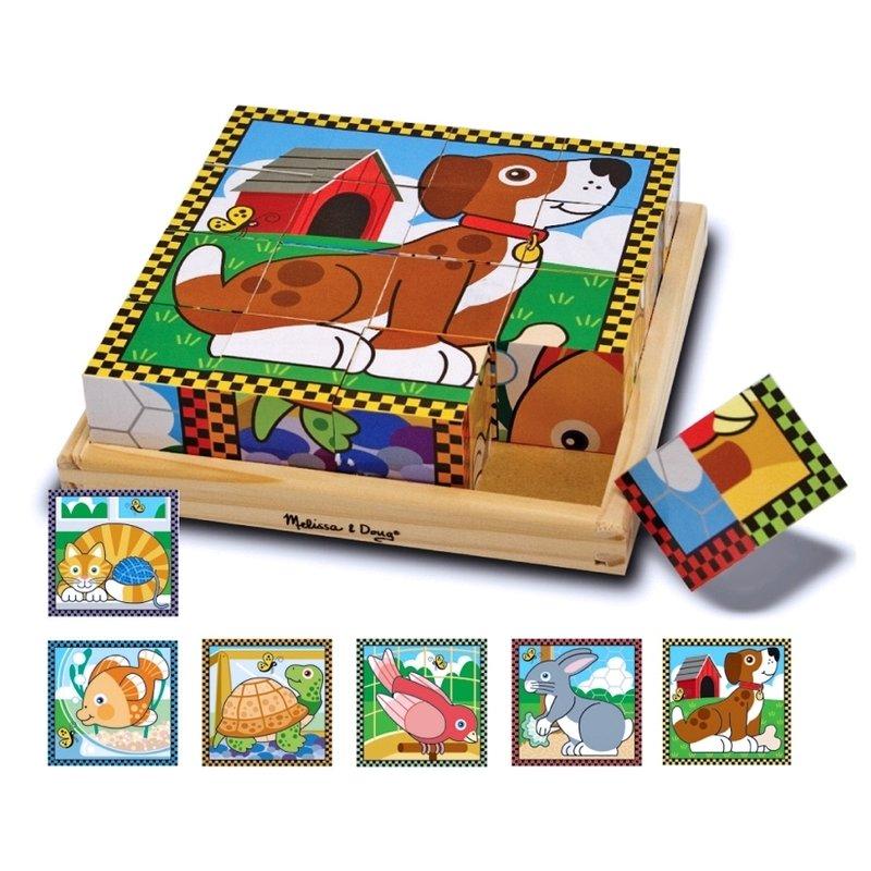 Puzzle lemn din cuburi Animalele de casa Melissa and Doug din categoria Puzzle copii de la Melissa & Doug
