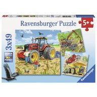 Ravensburger - Puzzle Masinarii, 3x49 piese