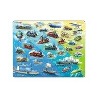 Larsen - Puzzle maxi cu mijloace de transport istorice  orientare tip vedere  54 de piese