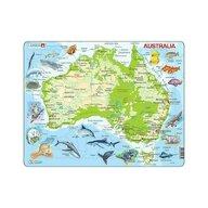 Larsen - Puzzle maxi Harta Australiei cu animale, orientare tip vedere, 65 de piese,
